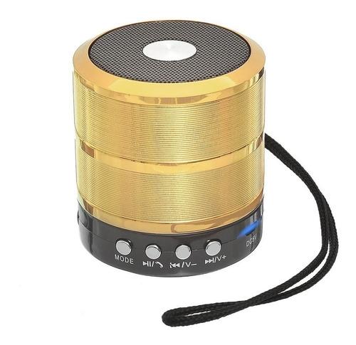 Alto-falante Grasep D-BH887 portátil com bluetooth dourado