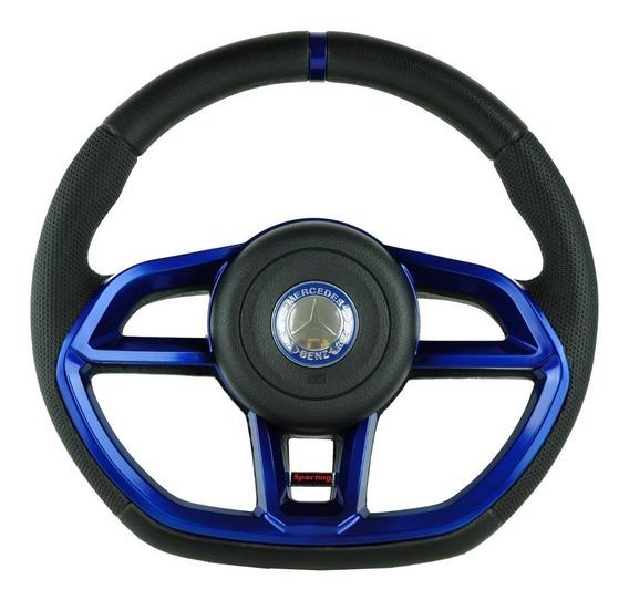 Volante Esportivo Golf Gti P/ Caminhão Mercedes Azul + Cubo