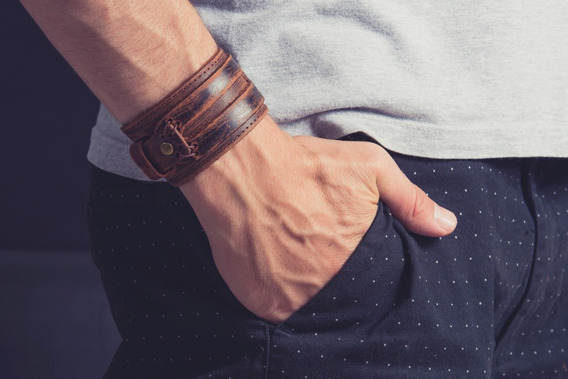 Bracelete Masculino Couro - Pulseira Masculino Couro