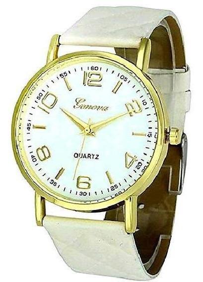 Relógio Feminino Geneva Dourado Pulseira Matelassê Branco