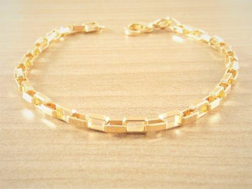 Pulseira Bracelete Masculina 20cm 3mm Folheada Ouro Semi Joi