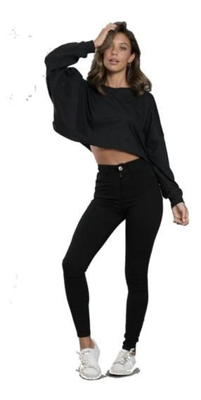 Jean Elastizado Tiro Alto Mujer Chupin Negro Talle 36 Al 60
