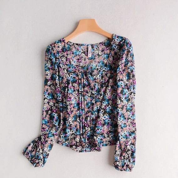 Blusa Feminina Estampada Floral Chiffon Crepe Importada
