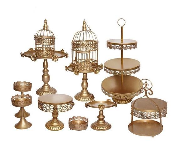 Set De 12 Bases Decorativas Para Pastel & Cupcakes Dorados