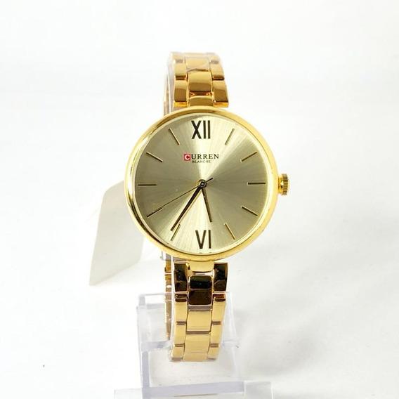 Relógio Feminino Dourado Curren 9017 Elegante
