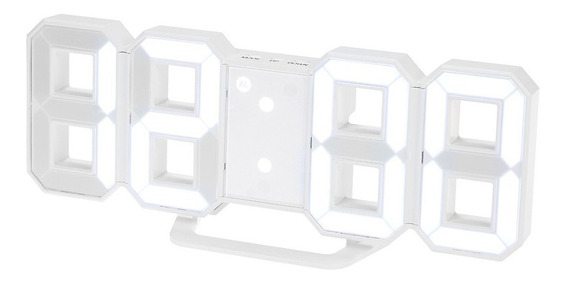 Reloj Despertador Digital Luminoso Led 3d Usb Blanco