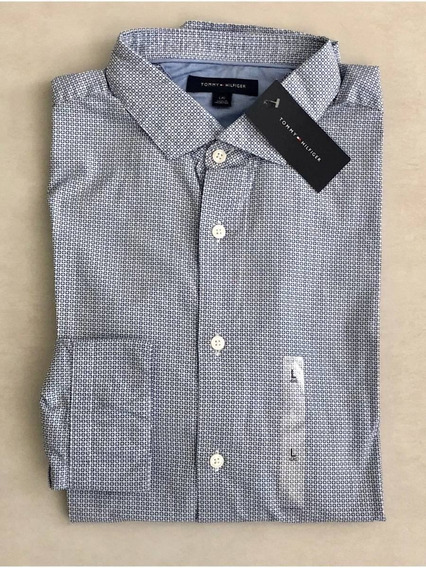 Camisa Tommy Hilfiger Social Casual Masculina Original Azul