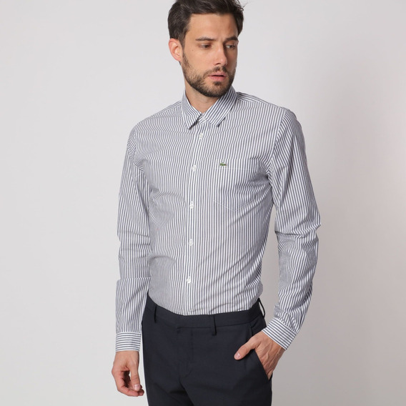 Camisa Lacoste Manga Larga De Lineas