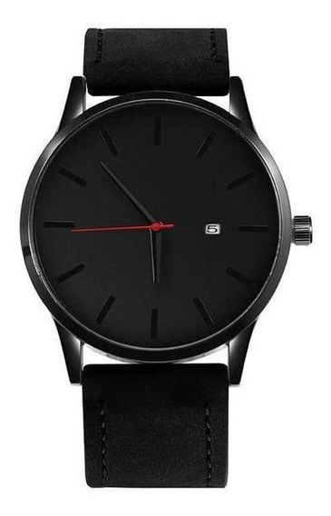 Relógio Minimalista De Couro MasculinoCom Design Moderno