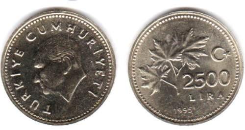 Moneda De Turquia Año 1995 2500 Lira Sin Circular