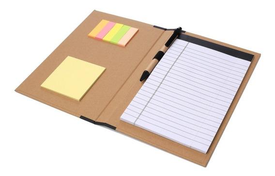 Carpeta Cuaderno Bolígrafo Ecológico Hojas Rayadas Notas Adh