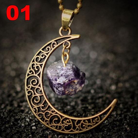 Colar Lua Nebulosa Ouro Velho Pedra Preciosa Ametista