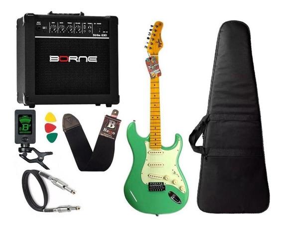 Kit Guitarra Tagima Tg530 Woodstock Surf Green Cubo Borne