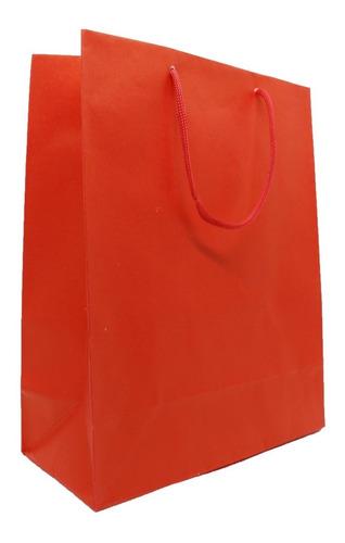 20 Sacolas De Papel Para Presente - Vermelha  27x22 Cm