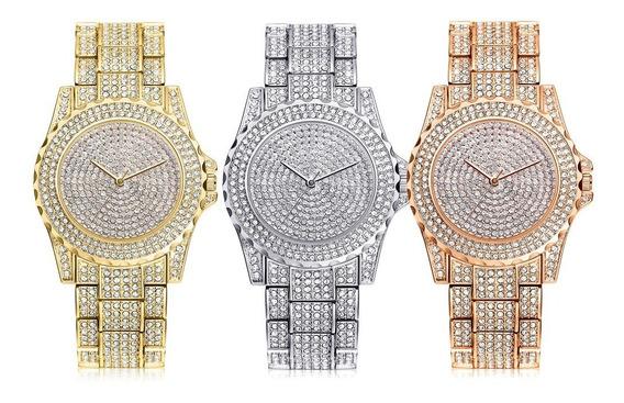 Relógio Feminino Dourado Pulseira De Luxo Algarismo Lindo #r