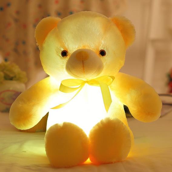 Ursinho Urso Pelúcia Rosa Creme Azul Amarelo Ascende Luz Led