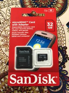 Cartão De Memória 32gb Sandisk Original Lacrado C/ Adaptador