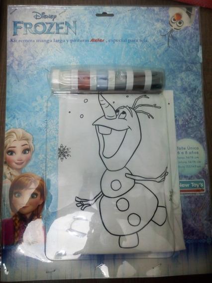 Remera Para Pintar Frozen Disney Talle Unico (6 A 8 Años)