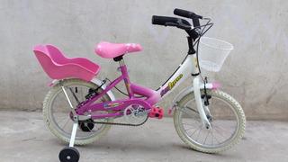 Bicicleta Rodado 14 Full De Niñas Rueditas Estabilizadoras