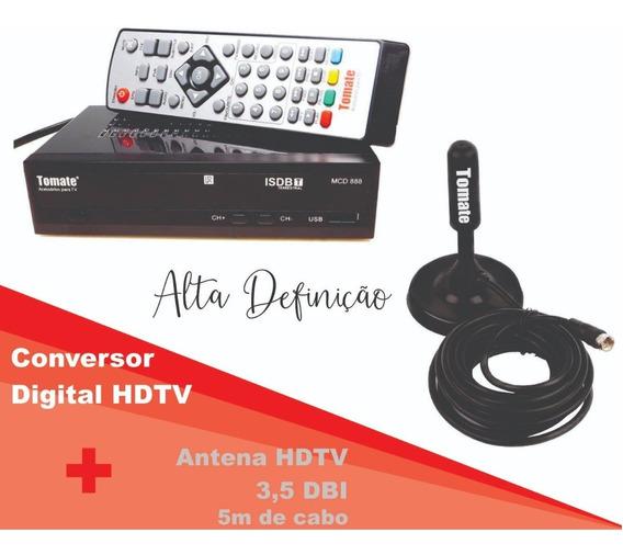 Kit Antena Digital Hdtv + Conversor Receptor Tv Digital 4k