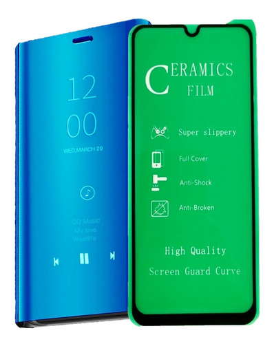 Funda Estuche  Flip Cover De Lujo + Vidrio 5d Samsung A50