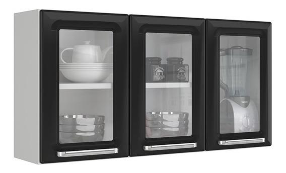 Armário Aéreo De Cozinha 3 Portas De Vidro 1 Bi