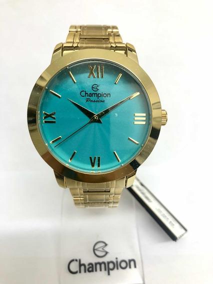 Relógio Champion Feminino Dourado Com Kit Cn28704v