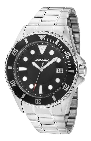 Combo Relógio Masc Magnum Sport + Caixa + All Aço - 50% Off