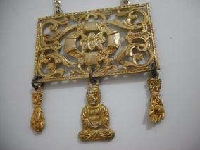Colar Metal Dourado Pingente Buda Usado Bom Estado