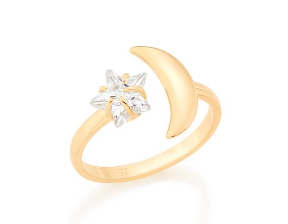 Anel Rommanel Skinny Ring Com Lua E Estrela - 512492