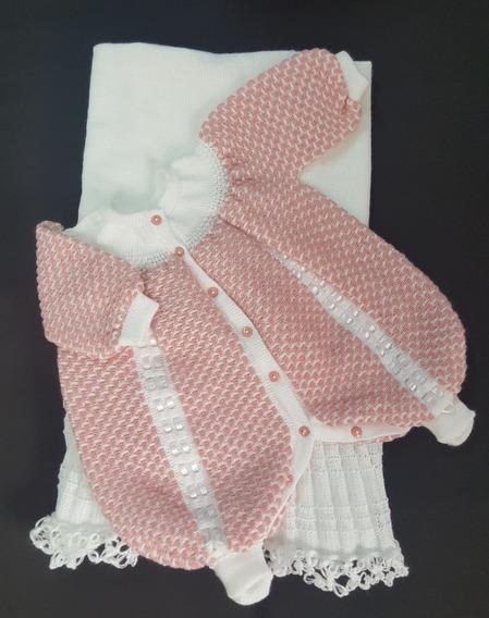 Saída Maternidade Tricot Menina Macacão + Manta Branco/rosê