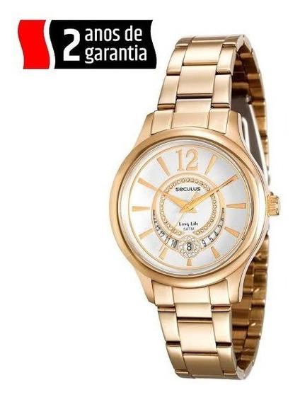 Relógio Feminino Seculus Pulseira Dourada Ainda Na Garantia