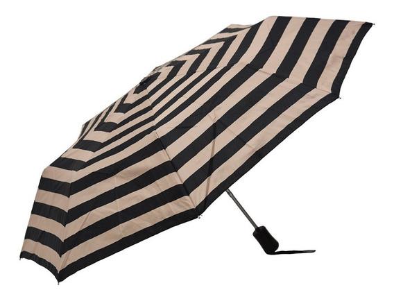 Paraguas Corto Automático Antiviento Rayado Negro