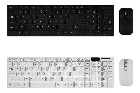 Kit Teclado Y Mouse Inalambrico Ultra Slim Pc Laptop Usb
