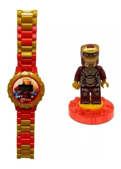 Relógio Digital Infantil Homem De Ferro + Mini Boneco Lego
