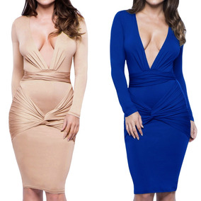 Mujeres Sexy Vestido Midi Sólido Vendaje Profundo V Cuello