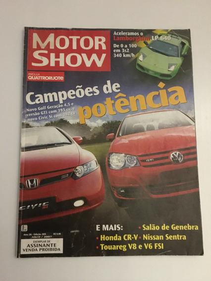 Revista Motor Show 289 - Abril 2007 Golf Civic