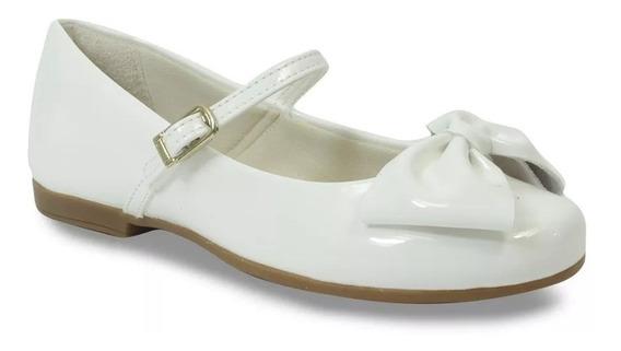 Sapatilha Angel Pampili Laço Branco Verniz 10397