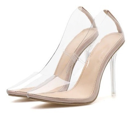 Sapato Scarpin Feminino Transparente Salto Alto