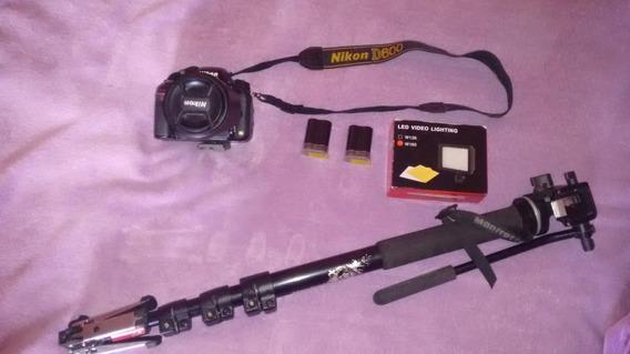 Nikon D600 2 Baterias+ Kit Filmagem E Monopé Manfrotto