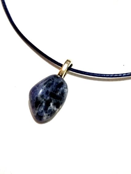 Dije Ágata Azul Piedra Natural Colgante Unisex