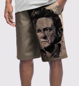 Bermuda Moletom Masculina Johnny Cash Rock Music Country
