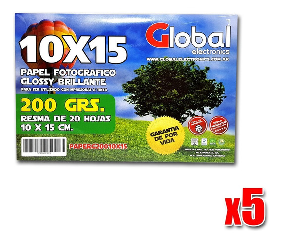Papel 10x15 Fotografico Glossy 200gr X20 Hojas ( Pack X5 )