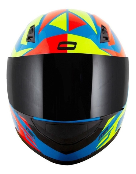 Capacete para moto integral Norisk FF391 Cutting light blue, yellow, red tamanho 58
