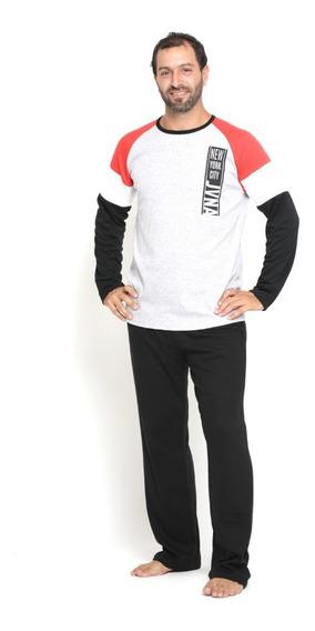 Pijama Hombre Invierno Tricolor Manga Larga Con Pantalon 1-3