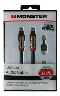Cable De Audio Optico Monster 12ft / 3.65mts.