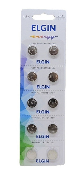 Blister Com 10 Pilha Bateria Elgin Lr44 Ag13 Lr1154 Alcalina
