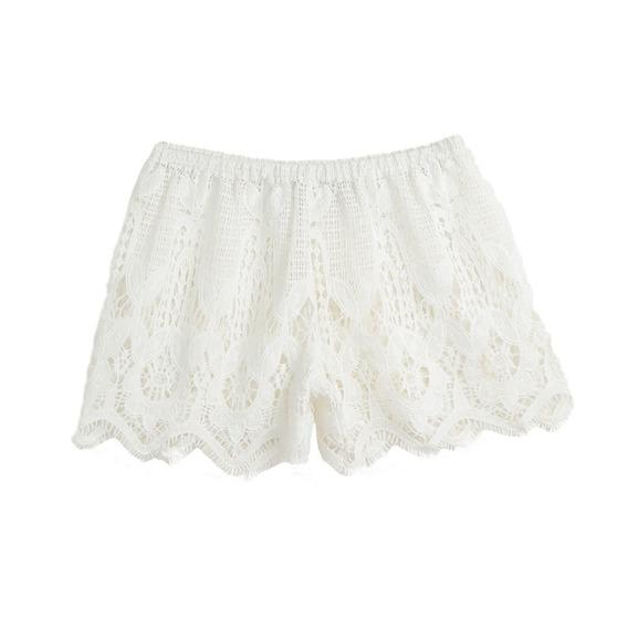 Short Romacci De Encaje A Crochet Para Mujer, Blanco Xl