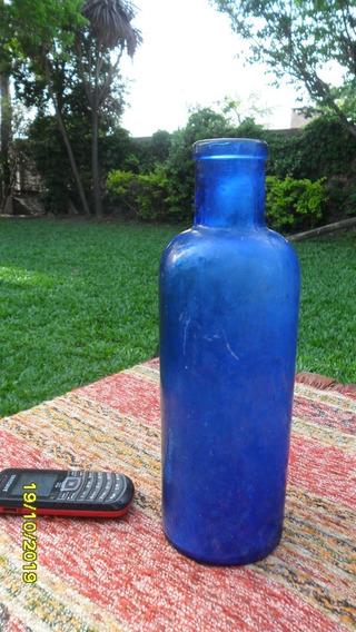 Antigua Botella Frasco Azul Cobalto De Farmacia Boca Ancha