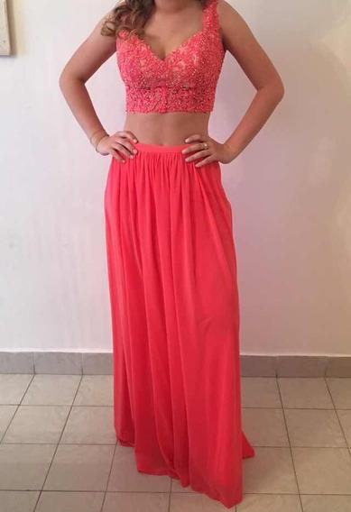 Vestido De Fiesta. Diseño De Dos Partes, Color Coral